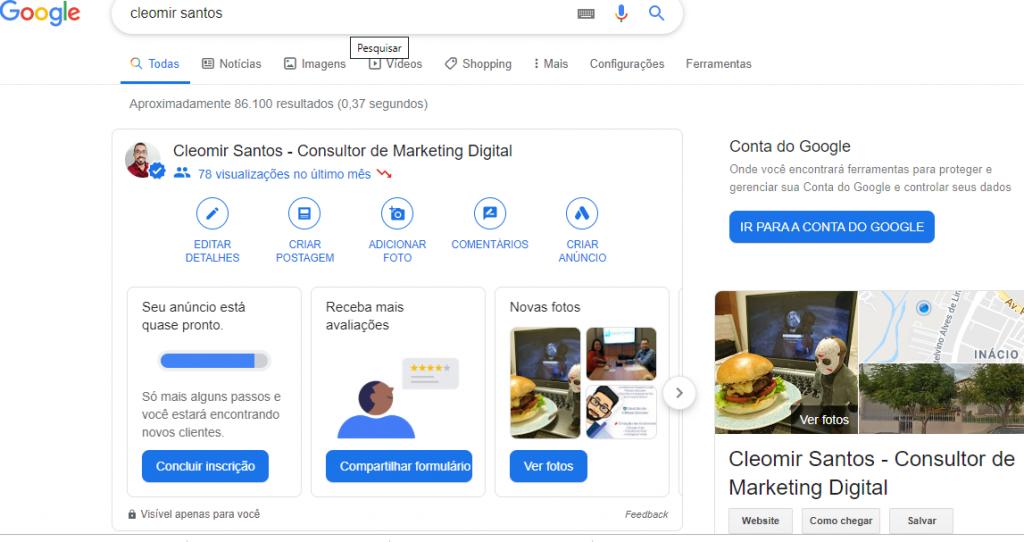 Pesquisa Google Meu Negócio