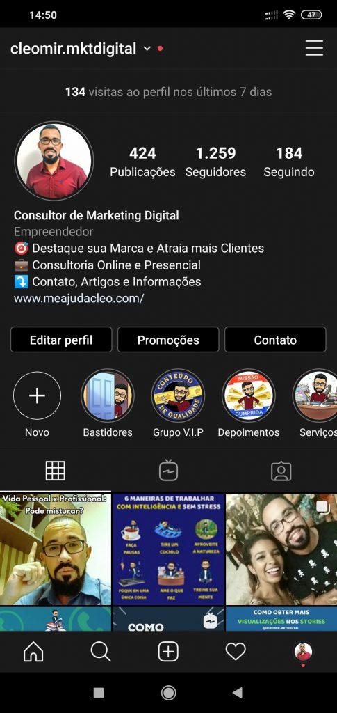 print do perfil do consultor de marketing digital cleomir.